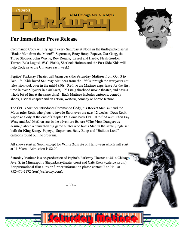 Cafe Roxy press release