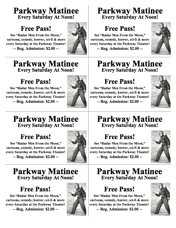 Cafe Roxy free pass sheet